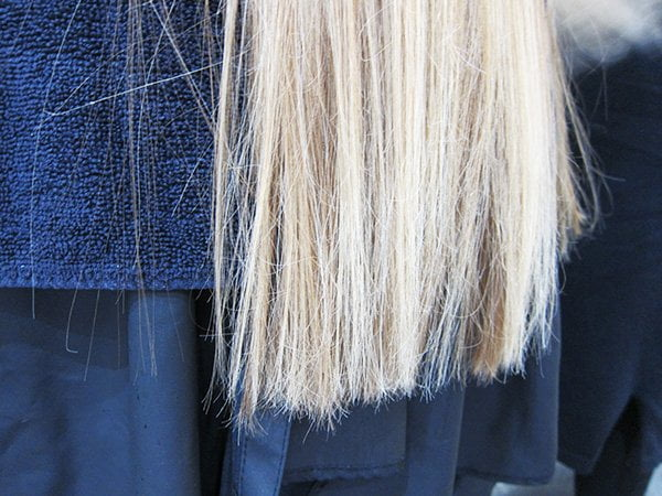 Closeup Haarspitzen nach der Keratinglättung (Goldwell Kerasilk Control) bei Head Case in Zürich