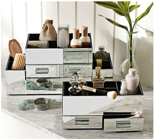 Mirrored Make Up Boxes by Pottery Barn