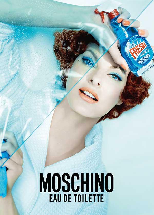 Moschino Fresh Couture Eau de Toilette, Press visual with Linda Evangelista (Steven Meisel)