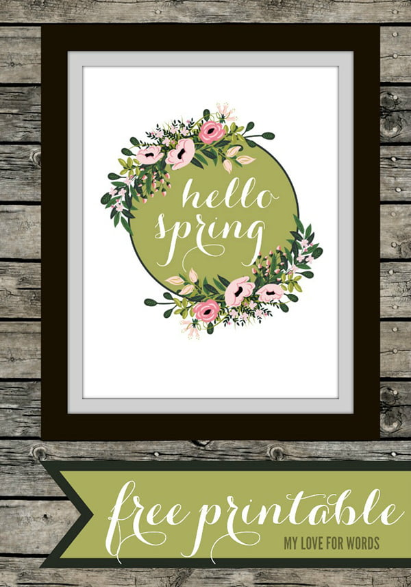 Hello Spring Free Printable by My Love for Words