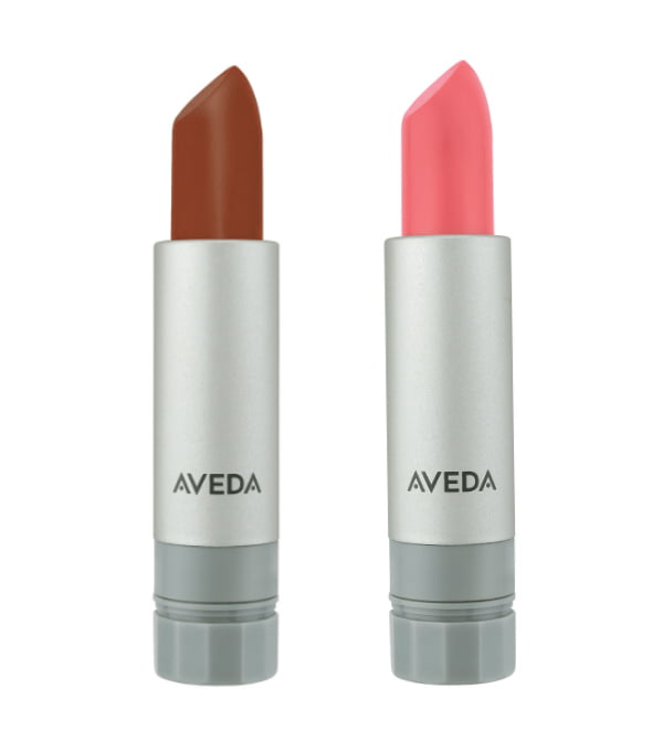 Aveda Nourish-Mint Sheer Mineral Lip Color in Sheer Clove and Smoothing Lip Color in Pink Peppertree