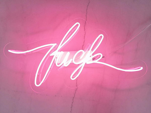 Neon sign f-word, Image copyright: sygns/Etsy