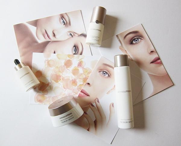 Giorgio Armani Beauty PRIMA skincare review, Image by Hey Pretty Beauty Blog