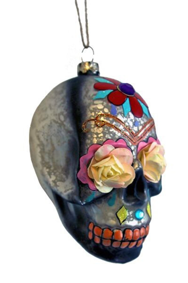 Day of the Dead Glass Skull Ornament by Rockett St. George