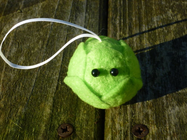 Brussel Sprout Christmas Bauble (Sarah Jane Coleby, Etsy)