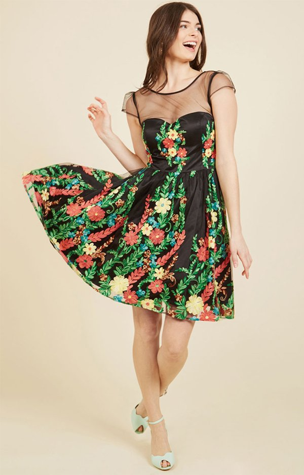 Modcloth Expressive Embroidery Fit and Flare Dress