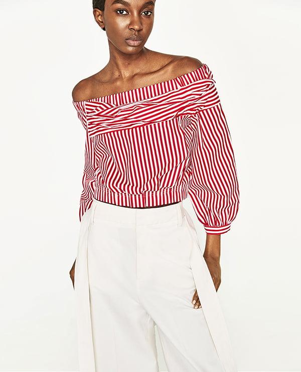 Schulterfreie Bluse mit roten Streifen von Zara (Hey Pretty Fashion Flash)