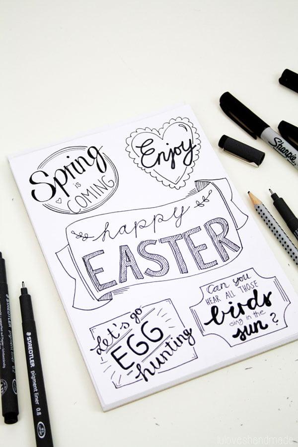 Die schönsten DIY Projekte für Ostern: Handlettering und Free Printable Vorlagen von Lu Loves Handmade (Hey Pretty Roundup der schönsten Osterbastel-Ideen auf Pinterest)