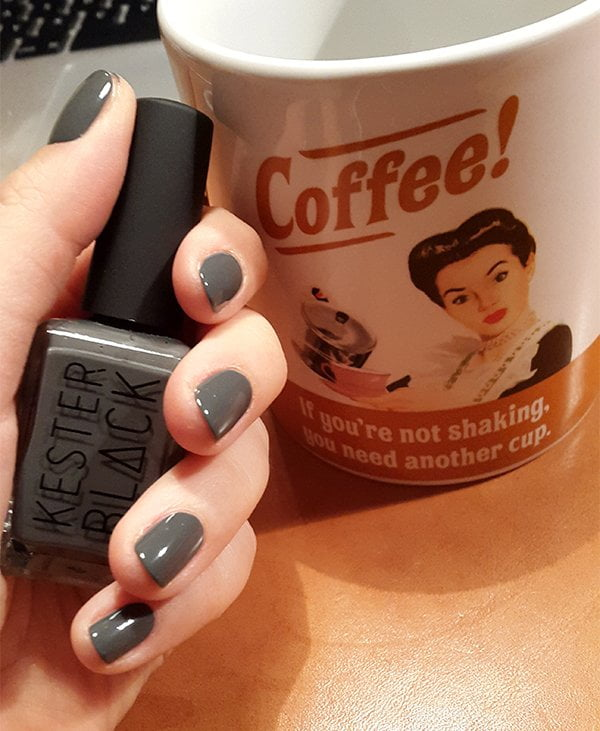 Kester Black 10 Free Nail Polish in Soot (Swatched by Hey Pretty Beauty Blog)