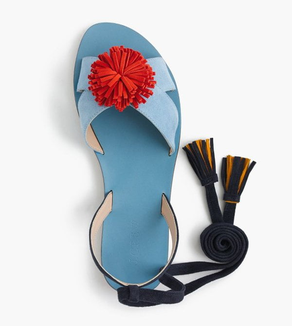 J. Crew Lace-Up Suede Sandals with Pompom (Best Summer Sandals 2017) on Hey Pretty Beauty Blog