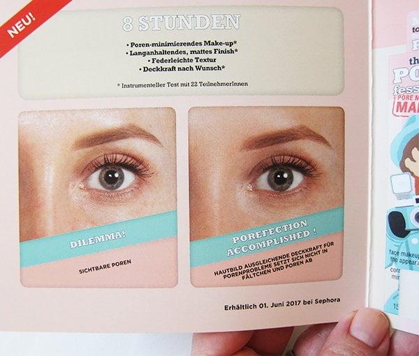 Benefit the POREfessional Pore Minimizing Makeup: Vorher Nachher Swatchbilder (Bild und Review auf Hey Pretty mit PR Material von Benefit)