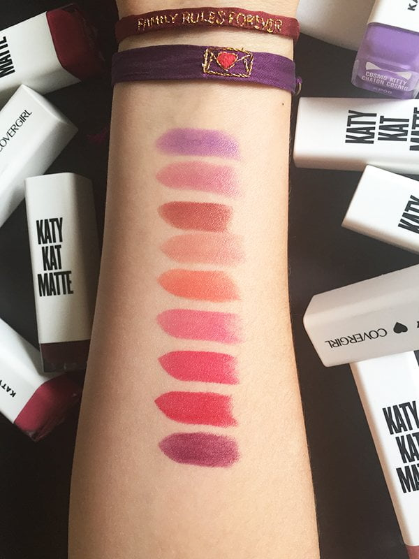 Covergirl Katy Kat Matte Lipsticks, Swatched by Hey Pretty: Cosmo Kitty, Kitty Purry, Catoure, Sphynx, Coral Cat, Magenta Minx, Cat Call, Crimson Cat and Maroon Meow