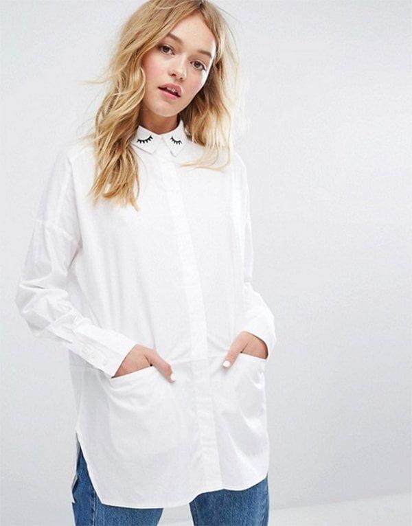 Monki Oversize-Bluse mit Wimpern-Stickerei am Kragen (Hey Pretty Fashion Flash)