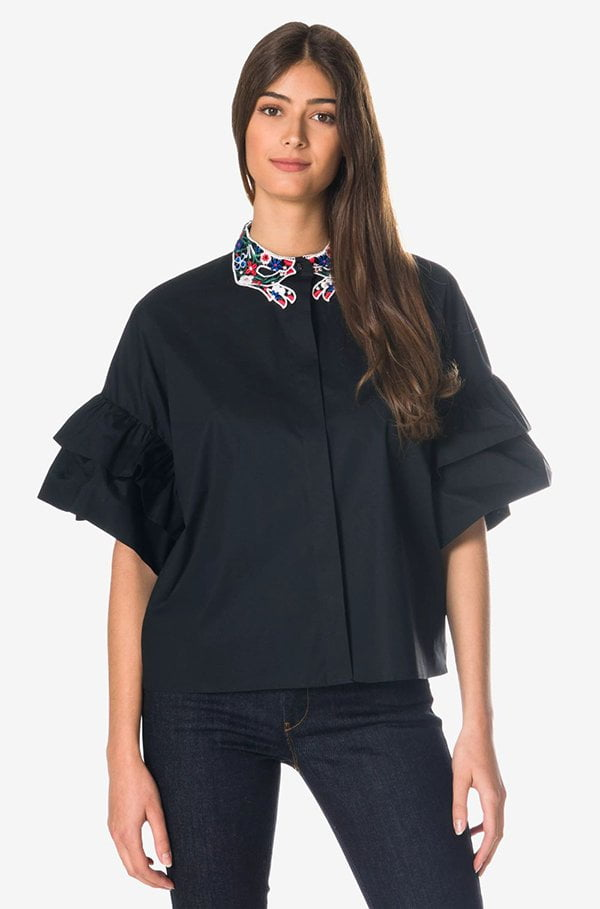 Vivitta Bluse mit besticktem Kragen von Globus (Hey Pretty Fashion Flash)