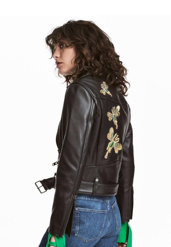 H&M Premium bestickte Bikerjacke aus Leder