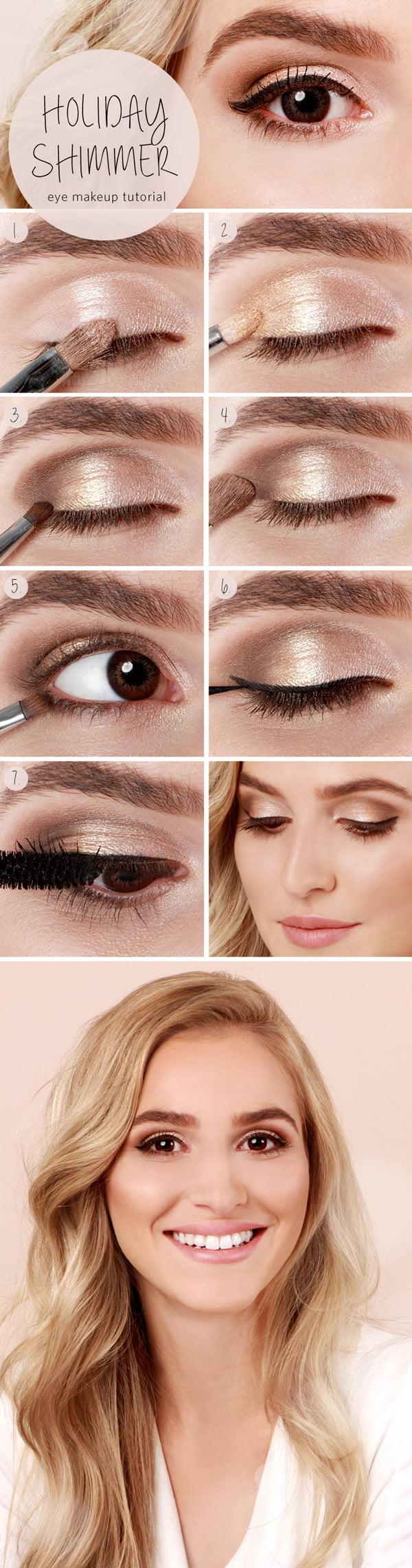Lulu's How To: Holiday Shimmer Eye Tutorial (Hey Pretty's beste Augen Make-up Tutorials auf Pinterest)