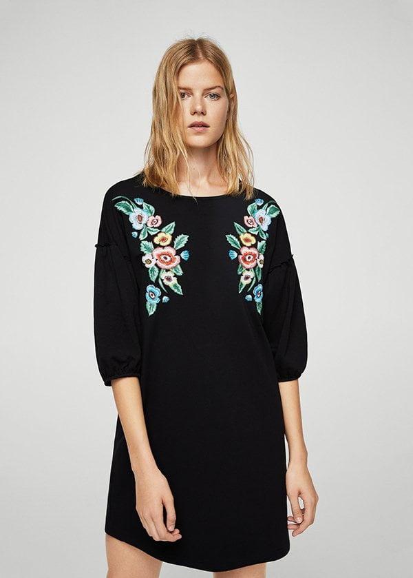 Besticktes T-Shirt-Kleid von Mango