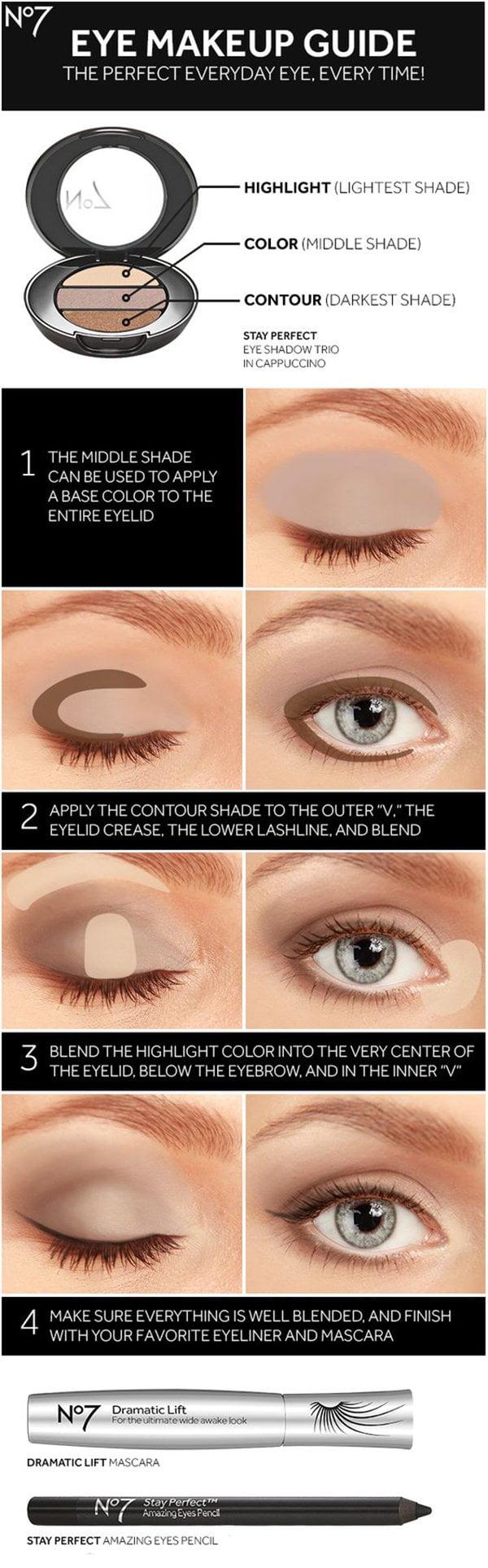 Die besten Augen Make Up Tutorials auf Pinterest: No. 7 Perfect Eye Makeup Guide