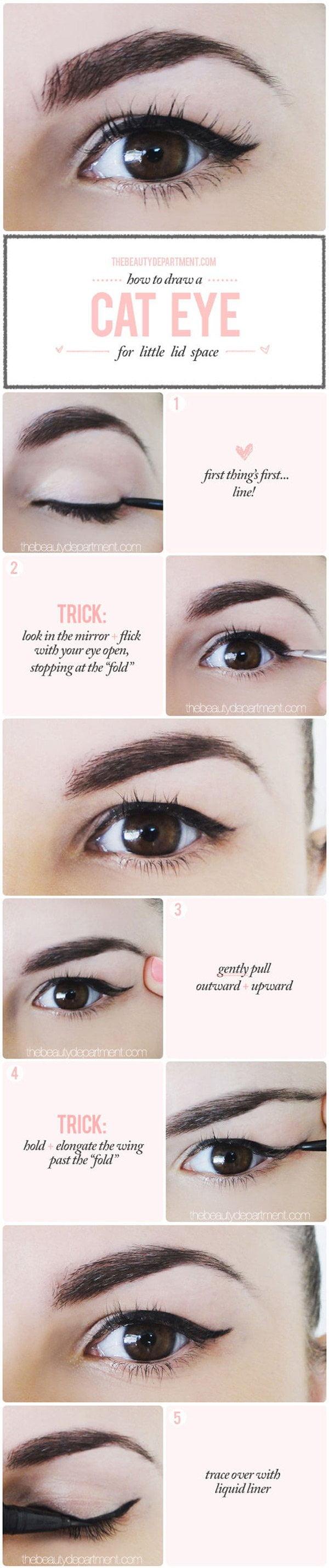 Cat Eye für Schlupflider (Die besten Augen Make-Up Tutorials auf Pinterest)