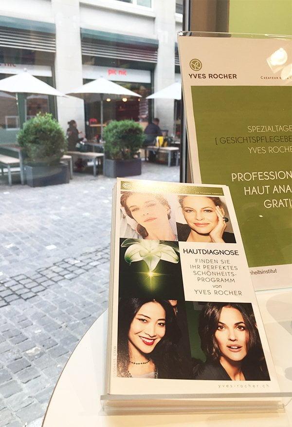 Yves Rocher Hautanalyse mit Hey Pretty: Beginn Beratung (Boutique Kuttelgasse Zürich)