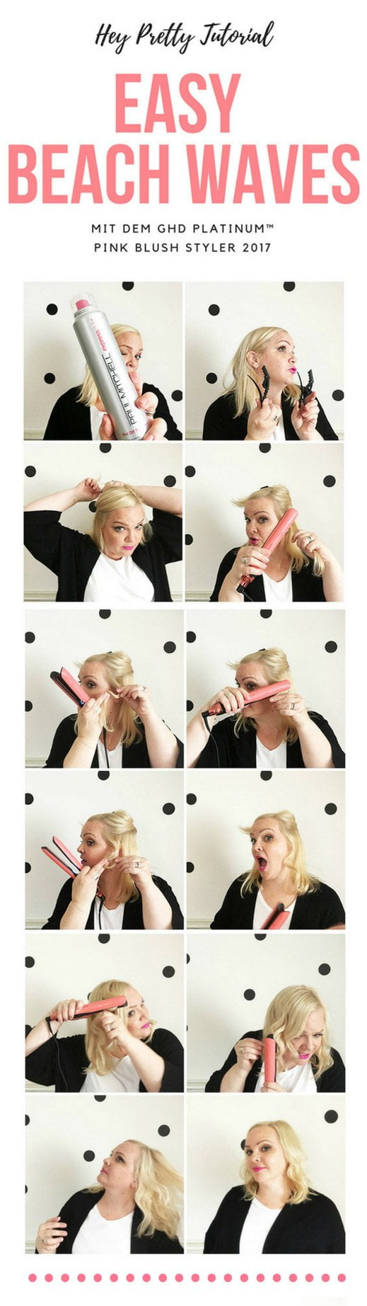 Step by Step Tutorial: Easy Beach Waves with the ghd pink blush styler (by Hey Pretty Beauty Blog)