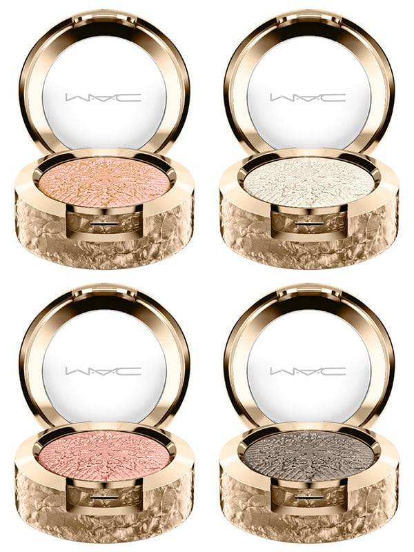 MAC Extra Dimension Eye Shadow in It's Snowing, Frostwinked, Delicate Drift and Starry, Starry Nights (Review Snow Ball Collection 2017 on Hey Pretty)