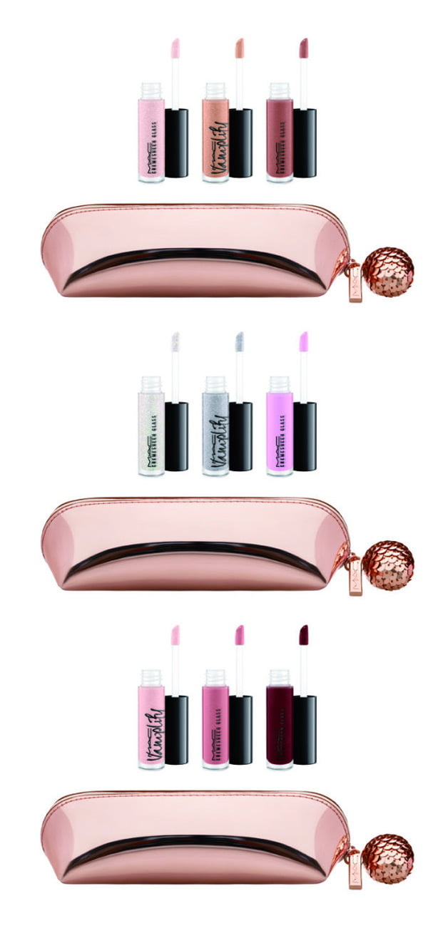 MAC Snow Ball Mini Gloss Kit in Nude, Pink and Rose (from top) – Holiday Collection 2017