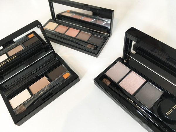 Bobbi Brown Eyeshadow Palettes Holidays 2017 (Image by Hey Pretty): Evening Glow Eye Shadow Palette, Satin & Caviar Shadow and Eyeliner Palette and Soft Smokey Shadow & Mascara Palette (Image by Hey Pretty)