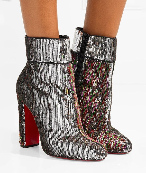 Christian Louboutin Moulamax Booties (with «Unicorn Skin» Sequin Finish) – Party Shoes by Hey Pretty