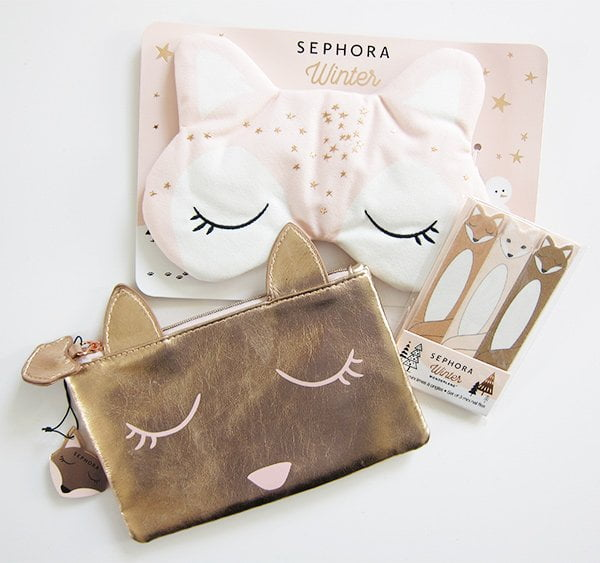 Sephora Holiday 2017 Beauty Accessoires (Fuchs-Schlafmaske, Beauty Bag und Nagelfeilen im Fuchs-Design) – Review auf Hey Pretty