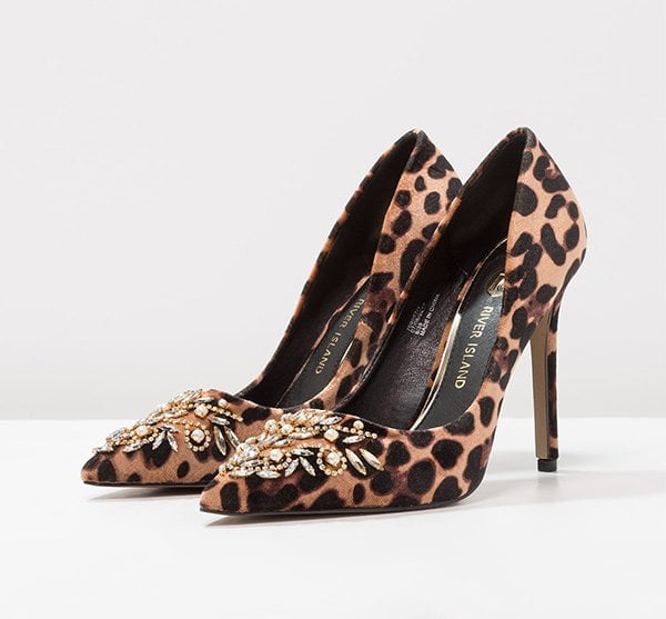 River Island Leopard Print Pumps with Embellishment (Hey Pretty Party Shoes)