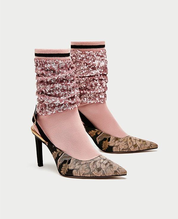 Zara Partypumps mit Glitzer-Socks (Hey Pretty Party Shoe Edit)