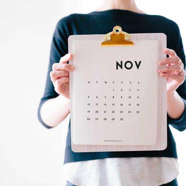Minimal Calender 2018 von Siobhan Donoghue: Die schönsten Free Printable Kalender 2018 auf Hey