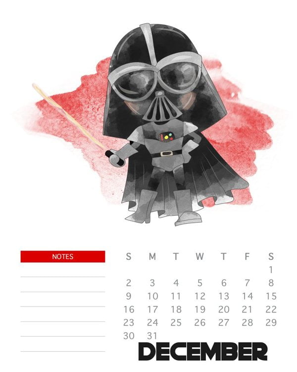 Die besten Free Printable Jahreskalender 2018: Star Wars Calender by The Cottage Market (Hey Prett Roundup)