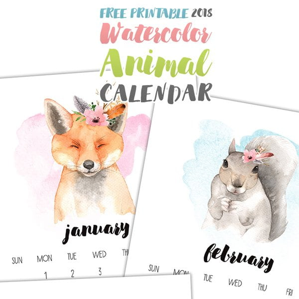 Watercolor Animal Calendar 2018 von The Cottage Market – Die schönsten Free Printable Kalender 2018 auf Hey Pretty Beauty Blog