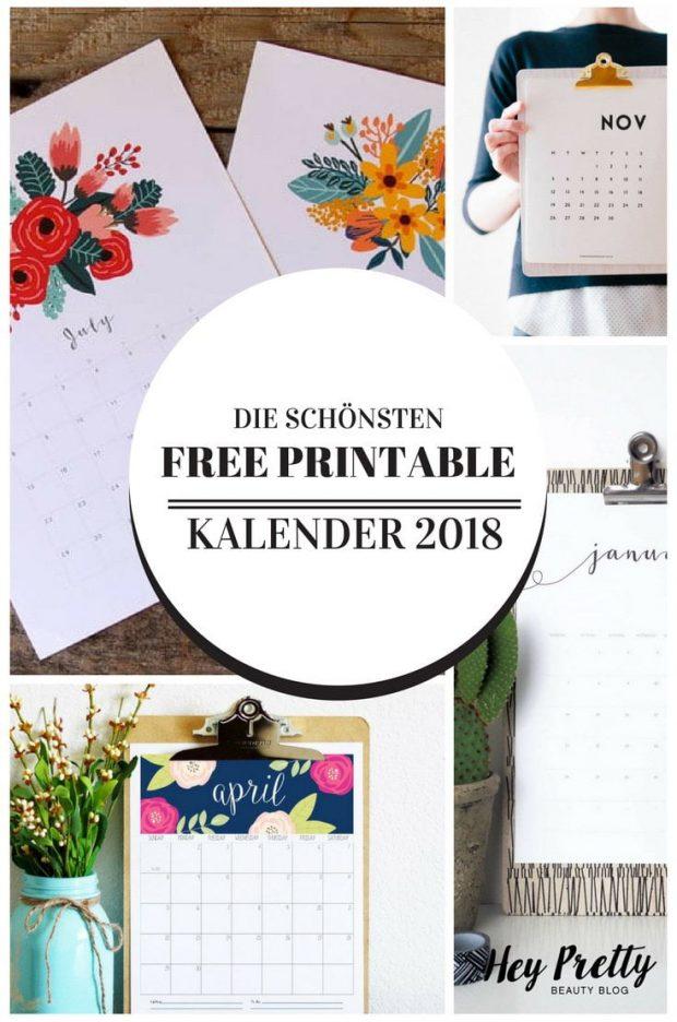 10 schöne Free Printable Kalender für 2018 (der Hey Pretty Roundup)