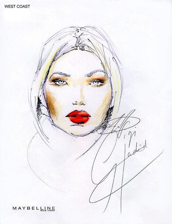 Face Chart: Gigi Hadid X Maybelline «West Coast Glam» (PR Image)