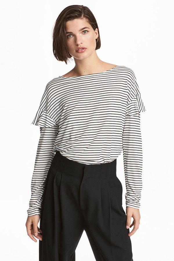 H&M Streifenshirt mit Volants (Fashion Flash mit lauter Rüschen auf Hey Pretty