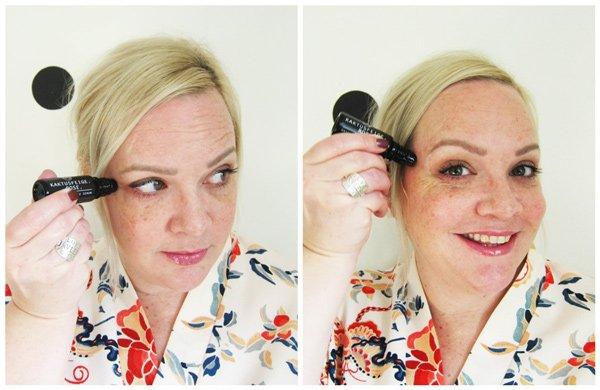 Aufweckende Augenmassage mit bepure: Step 2 – Serum zu den Schläfen ausstreichen (Tutorial auf Hey Pretty)