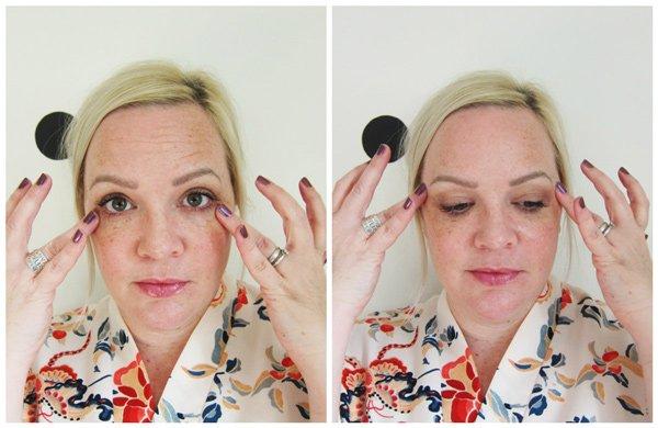 Aufweckende Augenmassage mit bepure: Step 3 – Serum unter den Augen sanft hinausstreichen (Tutorial auf Hey Pretty)
