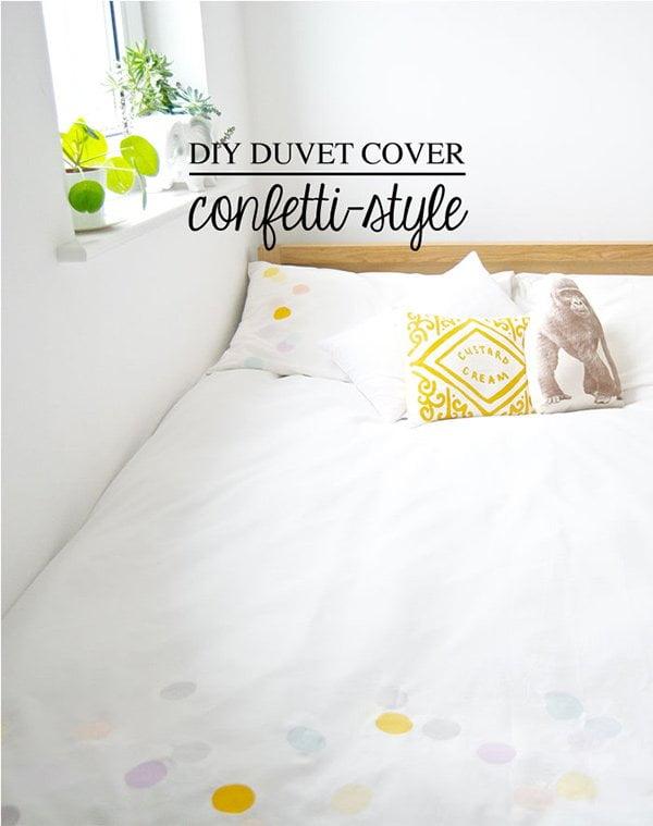 Bastelideen für den Frühling: Duvetbezug mit Confetti-Print DIY von Oh No Rachio! via Poppytalk (Roundup auf Hey Pretty)