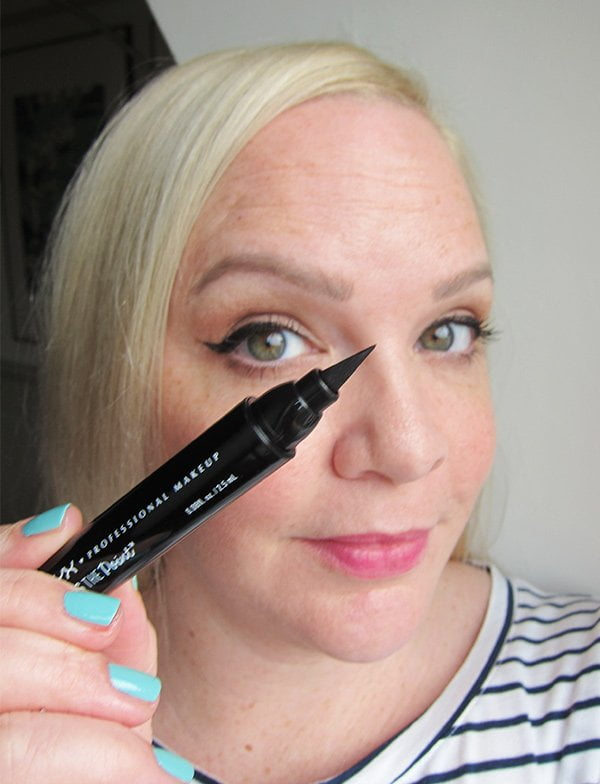 NYX Professional Makeup That's the Point Eyeliner in «Put a Wing», swatched by Hey Pretty Beauty Blog
