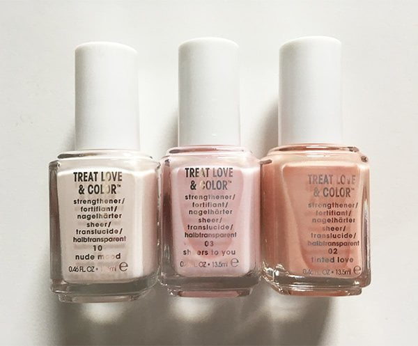 Essie Treat Love & Color in Nude Mood, Sheers to You and Tinted Love (Image and Review by Hey Pretty)