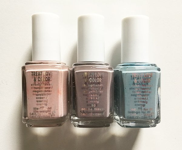 Essie Treat Love & Color in Lite-weight, On the Mauve und Indi-go For It! (Image and Review by Hey Pretty)