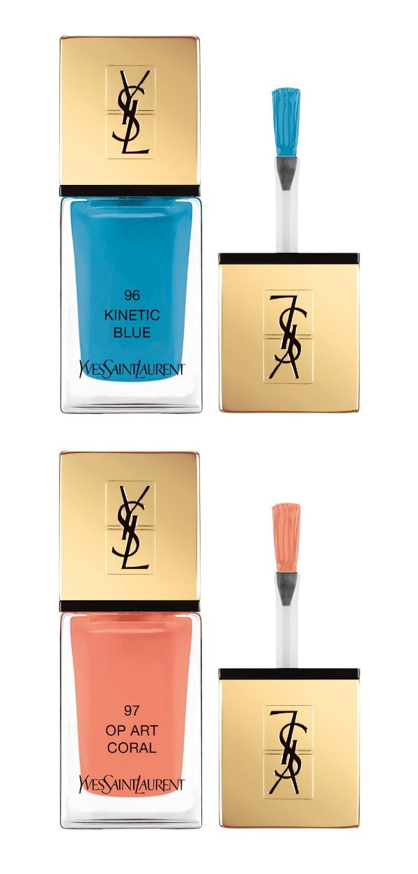 YSL La Laque Couture in Kinetic Blue und Op Art Coral (Spring Look 2018), Review auf Hey Pretty