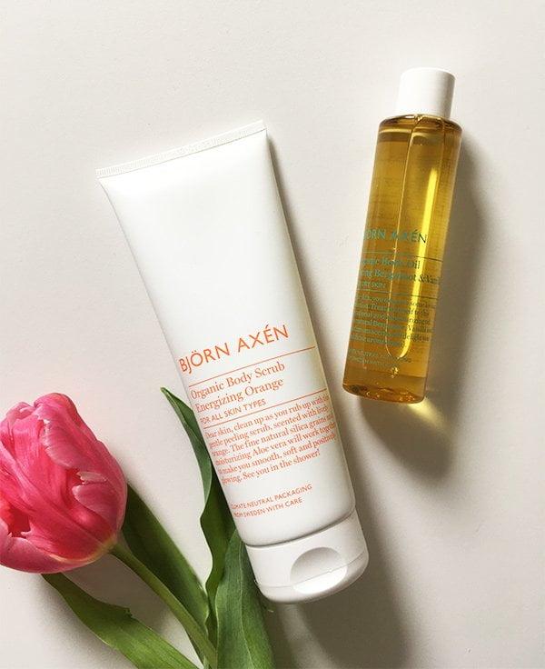 Bjorn Axen Organic Caring Energizing Orange Body Scrub and Caring Bergamot & Vanilla Body Oil (Hey Pretty Review)