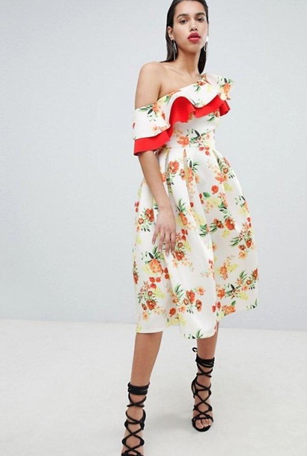 ASOS Off-Shoulder Kleid mit Blumenmuster (Hey Pretty Fashion Flash: Romantische Sommerkleider 2018)