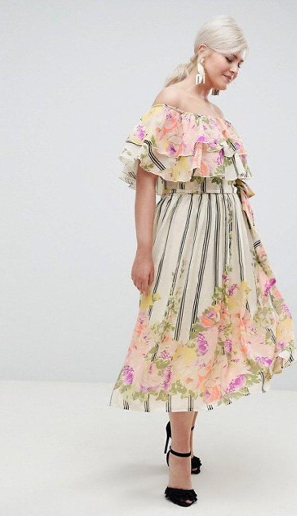 ASOS Curve schulterfreies Kleid mit Streifen und Blumen (Hey Pretty Fashion Flash: Romantische Sommerkleider 2018)