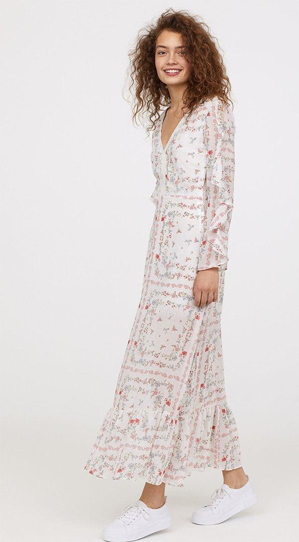 H&M Langes Kleid mit V-Ausschnitt (Hey Pretty Fashion Flash: Romantische Sommerkleider)