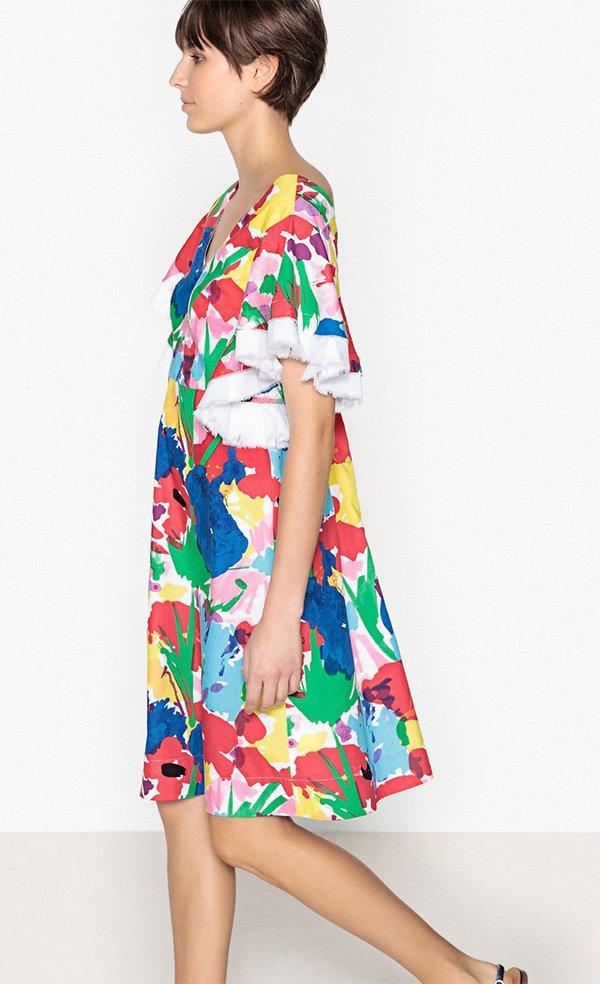 A-Linien Kleid mit grossem Blumenprint von La Redoute (Hey Pretty Fashion Flash: Romantische Sommerkleider 2018)